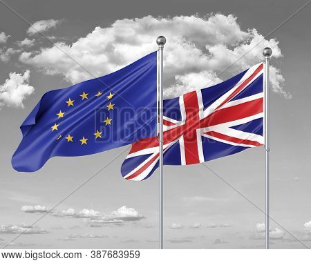 Two Realistic Flags. European Union Vs United Kingdom. Thick Colored Silky Flags Of European Union A