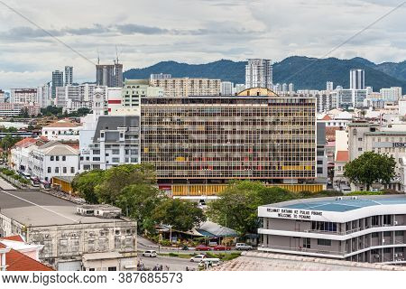 George Town, Penang, Malaysia - December 1, 2019: George Town City View From Cruise Ship In Cloudy W