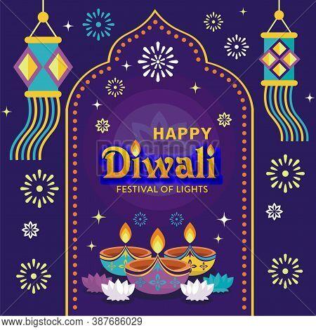 Happy Diwali Festival With Oil Lamp, Diwali Holiday Background With Rangoli, Diwali Celebration Gree