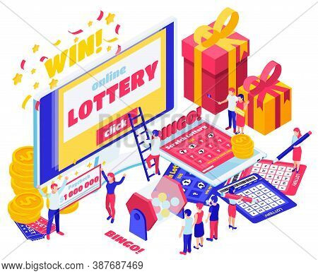Lottery Isometric Design Concept Set Of Screen With Online Lottery Paycheck For Million Dollar Bingo