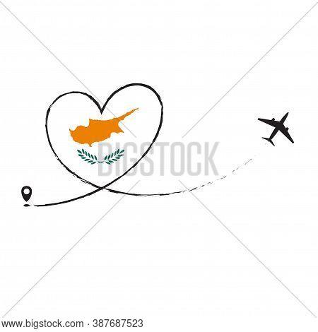 Flag Of Cyprus Love Romantic Travel Plane Airplane Airplane Airplane Flight Fly Jet Airline Line Vec