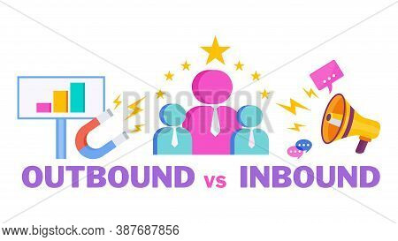 Outbound Vs Inbound Infographics Marketing Icons. Traditional Offline Marketing. Tv, Radio And Print