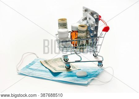 Supermarket Trolley With Medicines And Pills On White Background, Pharmacy Concept, Online Ordering