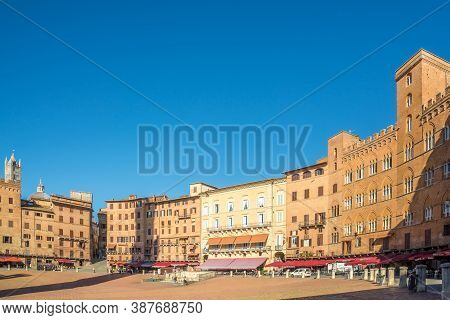 Siena,italy - September 4,2020 - View Of Piazza Del Campo (campo Square) In Siena. Siena Is One Of T