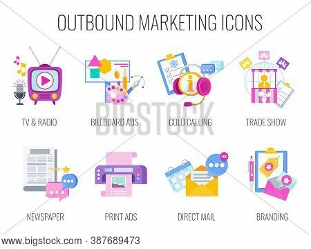 Outbound Infographics Marketing Icons. Traditional Offline Marketing. Tv, Radio And Print Ads. Outdo