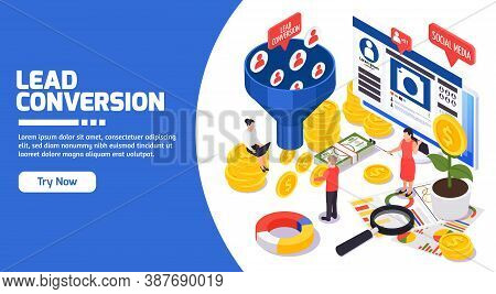 Smm Social Media Sales Promotion Members Attracting Conversation Strategy Profitable Ideas Isometric