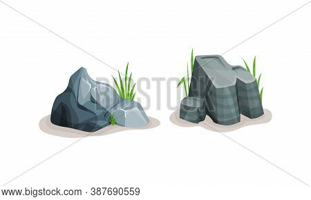 Uneven Stone Or Rock With Plant Growing Nearby Vector Set