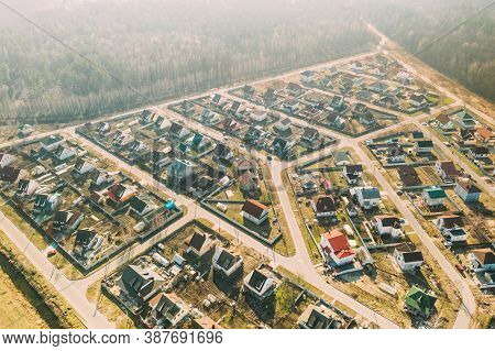 Gomel, Belarus. Aerial Birds-eye View Of Suburb Cityscape Skyline In Sunny Spring Day.