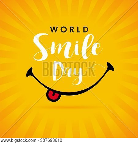 World Smile Day Yellow Beams Banner Template Design. Happy Smiling Icon And Text, October 2. Vector