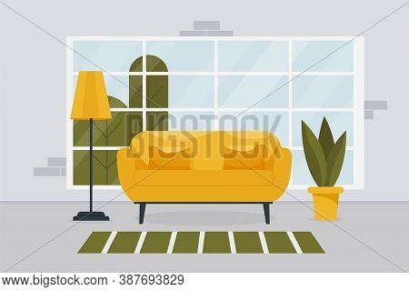 Stylish Living Room Interior With Furniture And A Large Window. Design Of A Cozy Room With A Sofa, I