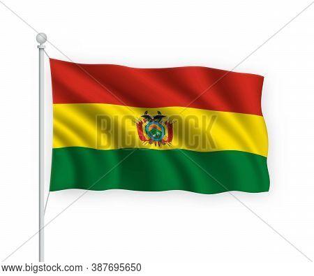 3d Waving Flag Bolivia Isolated On White Background.