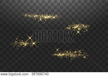 Abstract Stylish Light Effect On A Transparent Background. Golden Glowing Neon Lines In Motion. Gold