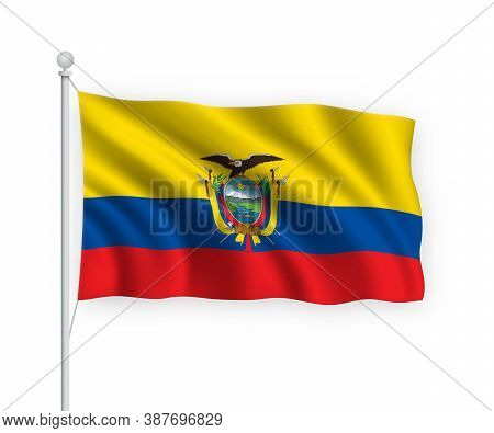 3d Waving Flag Ecuador Isolated On White Background.