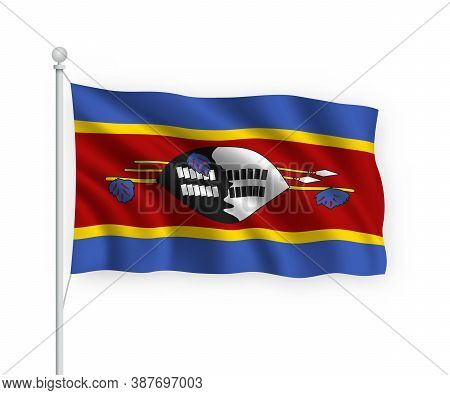 3d Waving Flag Eswatini Isolated On White Background.