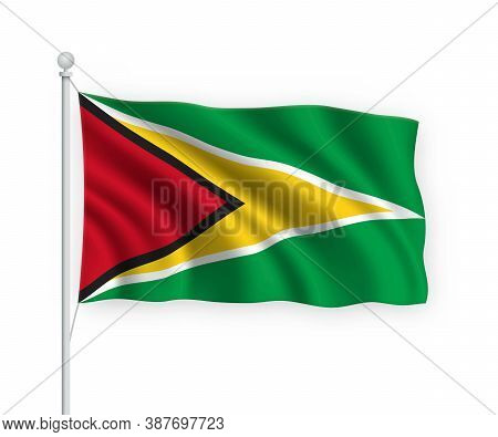 3d Waving Flag Guyana Isolated On White Background.