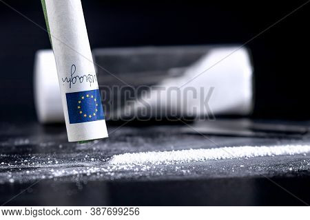 Cocaine Sniffing Closeup, Rolled Banknote For Snorting Line Of Cocaine,cocaine Drug Addiction