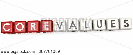 Core Values Word Concept On Cube Block Isolated, 3d Rendering