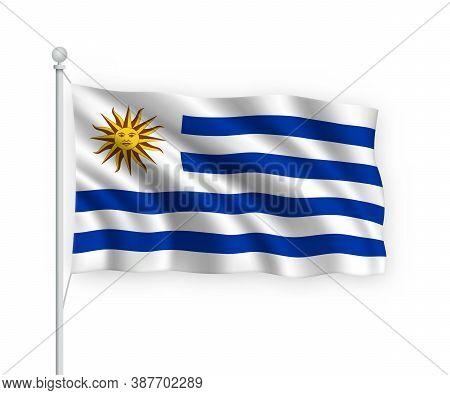 3d Waving Flag Uruguay Isolated On White Background.