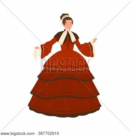Cheerful Lady In Retro Red Dress With Elegant Design Elements Vector Flat Illustration. Adorable Wom