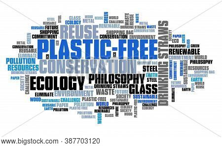 Plastic-free Philosophy. Plastic Free Word Cloud Text Sign.