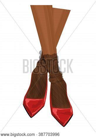 Women's Legs In Shoes. Graceful Nylon Socks. Patent Leather Pumps. Fashion Illustration. Modern Desi