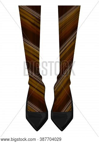 Women's Legs In Shoes. Nylon Tights With Colored Stripes. Patent Leather Pumps. Fashion Illustration