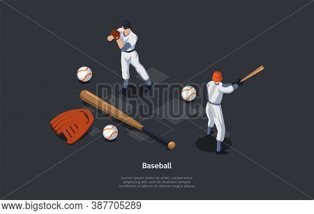National Sport Of Usa, Baseball Concept. Pitcher, Player On The Fielding Team Throwing A Ball Which