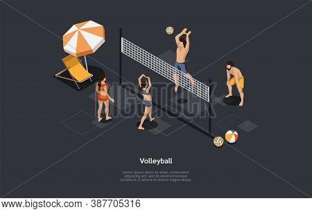 Volleyball, Team Sport Concept. Volleyball Women Vs Men Team. Men Grounding A Ball Over A Net On The