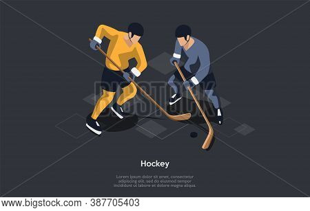 Hockey, Sport Concept. Two Male Characters Playing Hockey Against Each Other By Trying To Manoeuvre