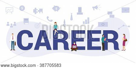 Career Oncept With Modern Big Text Or Word And People With Icon Related Modern Flat Style