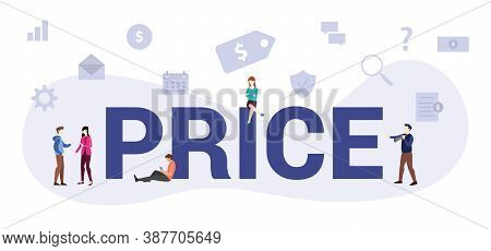 Price Concept With Modern Big Text Or Word And People With Icon Related Modern Flat Style