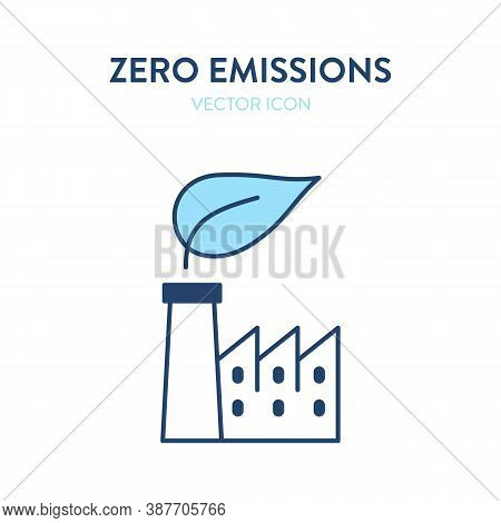 Zero Emissions Factory Icon. Vector Illustration Of A Facrory Building With A Leaf Eco Symbol. Repre