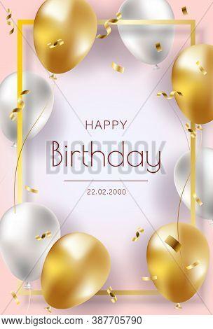 Happy Birthday . Happy Birthday background . Happy Birthday banner . Happy Birthday design . Happy Birthday design . Happy Birthday image . Happy Birthday template . Abstract colorful birthday background design . Flying glossy pink shiny realistic 3D heli