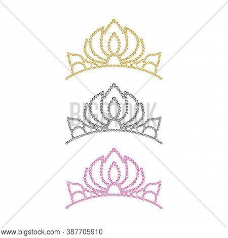 Pink Princess Crystal Crown. Gold Vector Diadem. Silver Rhinestones Womens Tiara Illustration.