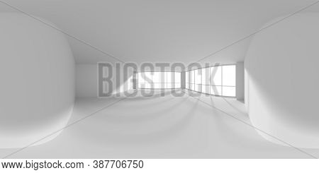 Hdri Environment Map Of Empty White Business Office Room With Empty Space And Sunlight From Windows,