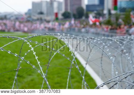 Minsk, Belarus - September 20, 2020: Peaceful Protests In Belarus. People At A Protest Rally In Bela