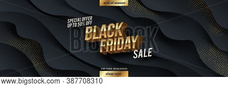 Black Friday Sale Design. Golden Metallic 3d Letters On A Black Fluid Wavy Layered Background With G