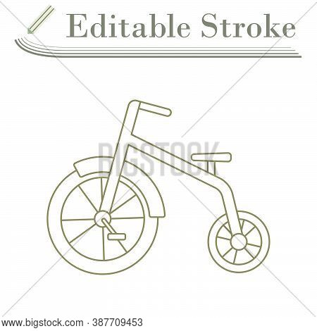 Baby Trike Icon. Editable Stroke Simple Design. Vector Illustration.