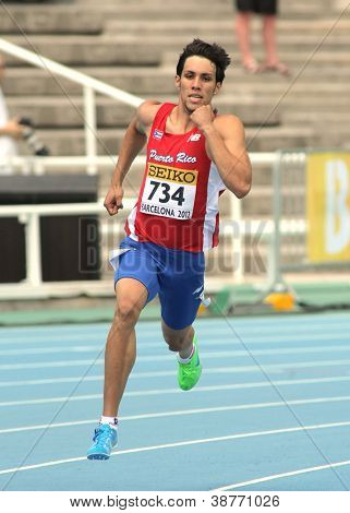 BARCELONA - JULY, 13: Wesley Vazquez of Puerto Rico during 800m event the 20th World Junior Athletics Championships at the Olympic Stadium on July 13, 2012 in Barcelona, Spain