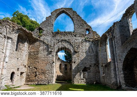 Summer, Inside Interior Architecture Of An Ancient Medieval Church Ruin With Blue Sky In Visby Gotla