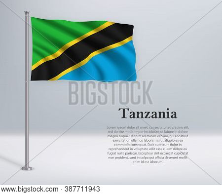Waving Flag Of Tanzania On Flagpole. Template For Independence D