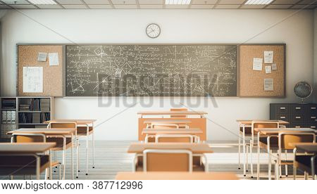interior of a classroom with wooden desks and chairs, selective focus, 3d render.