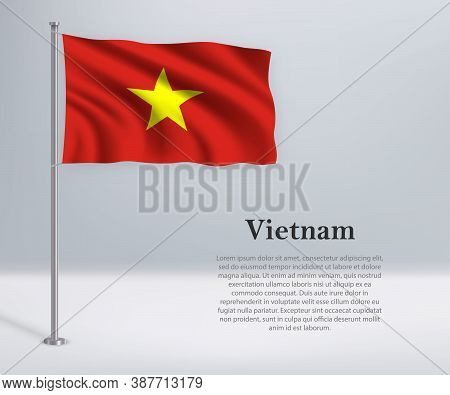 Waving Flag Of Vietnam On Flagpole. Template For Independence Da