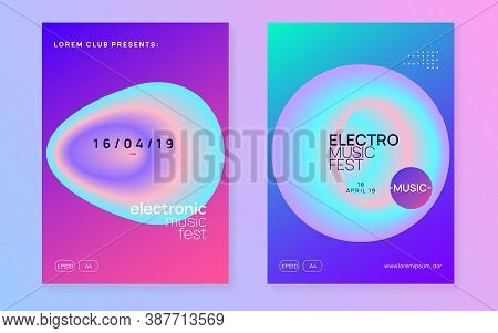 Music Fest Set. Abstract Indie Club Cover Design. Fluid Holographic Gradient Shape And Line. Electro