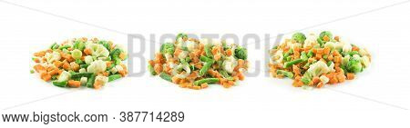 Frozen Mixed Vegetables Isolated On White Background