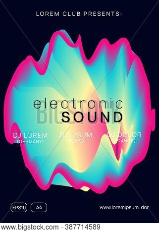 Music Poster. Geometric Techno Show Banner Design. Fluid Holographic Gradient Shape And Line. Electr