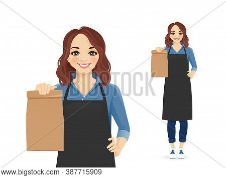 Smiling Woman In Apron Standing With Paper Packet Isolated Vector Illustration