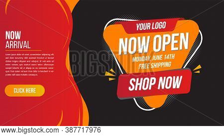 Now Open Shop Or New Store Red And Orange Color Sign On Black Background.template Design For Opening