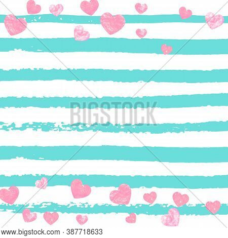Pink Glitter Confetti With Hearts On Turquoise Stripes. Shiny Random Sequins With Metallic Sparkles.