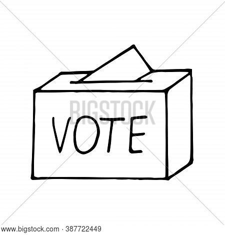 Ballot Paper Into The Box And Lettering Vote Sketch Icon, Sticker, Poster, Hand Drawn Vector Doodle,